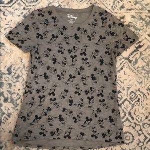 Disney Minnie Mickey gray black tee size large